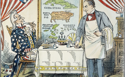 W. McKINLEY CARTOON, c1900.  American cartoon comment, c1900, on Uncle Sam's seemingly insatiable imperialist appetite; waiting to take the order, at right, is President William McKinley.
